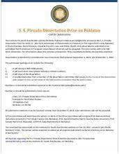 S.S.Pirzada Dissertation Prize on Pakistan